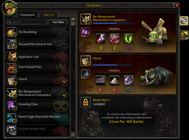 Mists of Pandaria Pet Battle System